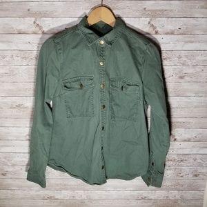 F21 Green Long Sleeve Button Shirt
